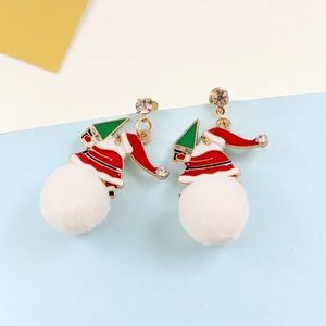 Christmas Tree Santa Claus Pom Pom Stud Earrings
